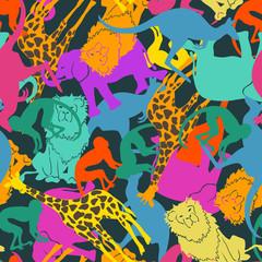 Animal silhouettes seamless pattern.
