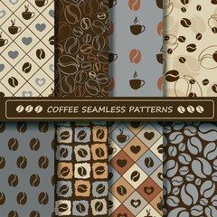 Set of coffee seamless pattern.