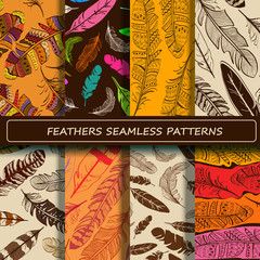 Set of yellow brown abstract ethnic bird feather seamless patter