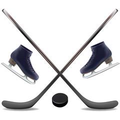 Hokey Set. Winter Skates, Sticks and Puck. Vector Illustration.