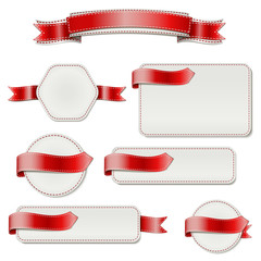 Red Ribbon with a Blank Banners for Text.  Vector Illustration