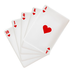 Poker Hand: Royal Flush - Hearts.
