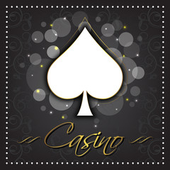 Casino dark vector background with card symbol in the middle