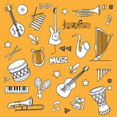 Hand drawn Music items set