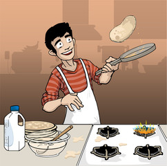 Young man flipping pancakes