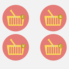 shopping basket icon set vector illustration