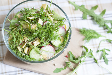 Salad: vegetables and herbs