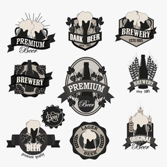 Retro Brewery and Beer logotypes set.