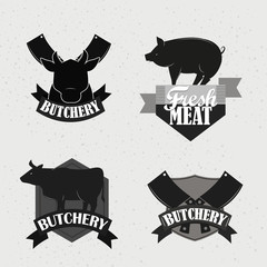 Retro butchery, steak house and meat shop logotypes set.