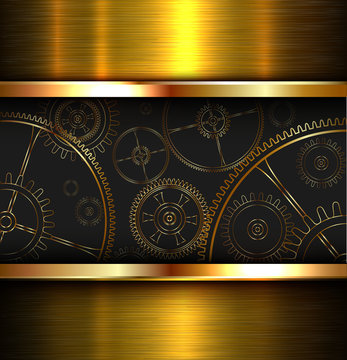 Abstract background metallic gold with gears