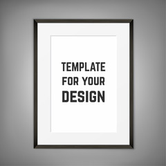 Blank framed poster on a wall. Vector template