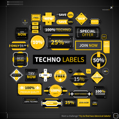 Huge collection of different labels and badges in techno style