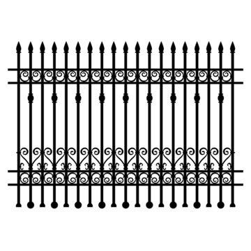 Black wrought-iron lattice fence element