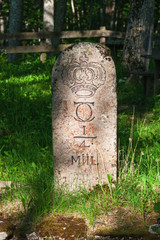 Milestone by the roadside