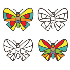 Butterflies in the style of stained glass. Coloring book