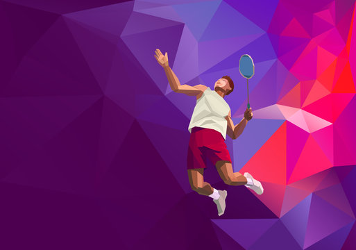 Polygonal professional badminton player on colorful low poly