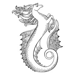 Mythological Hippocampus. Legendary sea horse.