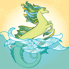 Mythological Hippocampus. The series of mythological creatures