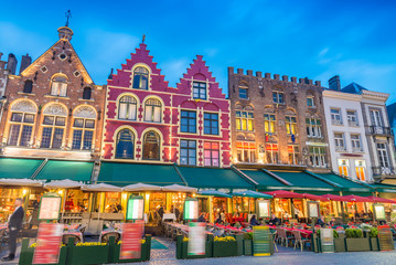 Beautiful night in Market Square, Bruges - Belgium