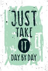 Vintage motivational grunge quote poster, green frame