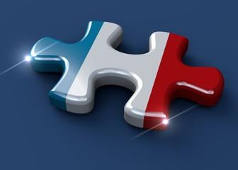 Pezzo di puzzle con bandiera francese