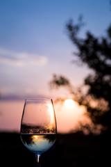 A glass of white wine in Santorini