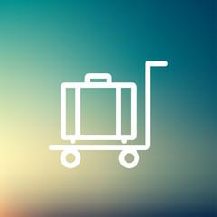 Trolley luggage thin line icon