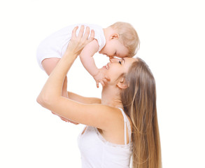 Happy mother and her baby have fun together