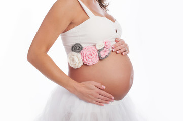 Pregnant Belly with Pink Crocheted Sash