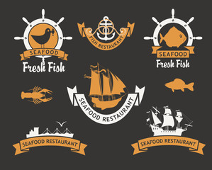 set of logos for restaurants and seafood stores