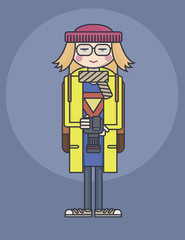 flat design line drawn girl in glasses and yellow coat holding