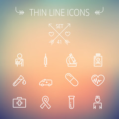 Medicine thin line icon set