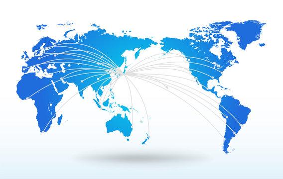 世界地図・グローバル・ネットワークイメージ・World map Vector