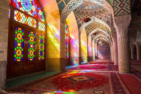 Colorful stained glass windows in Nasir al-Mulk Mosque, Shiraz, Iran
