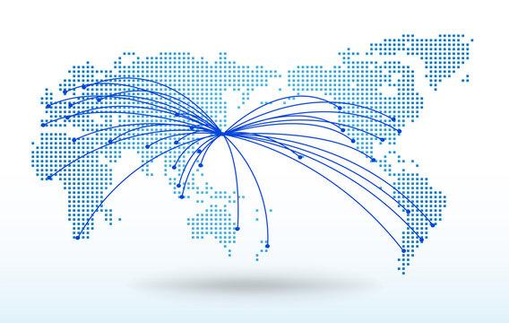 世界地図・ドット・グローバル・ネットワークイメージ・World map Vector