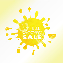 Sale label advertising design with yellow light hot watercolor s