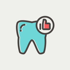 Healthy tooth thin line icon
