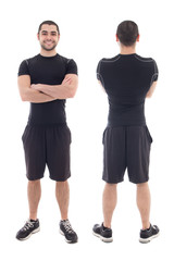 front and back view of handsome bearded arabic sportsman isolate
