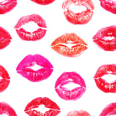 Seamless colorful lips prints