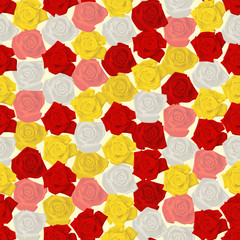 Seamless colorful background made of  different roses in flat si