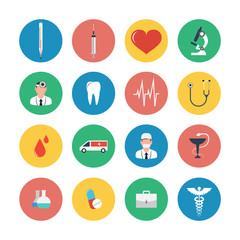 Flat icons set of medical equipment.