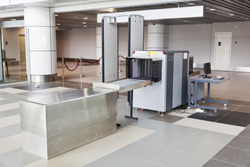 Fotobehang Luchthaven X-ray scanner and metal detector at airport security point