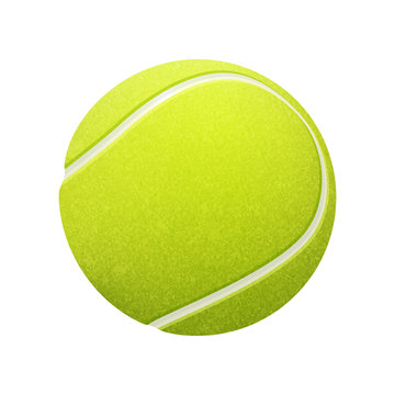 Single tennis ball isolated on white background. Vector EPS10