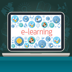 Laptop with E-Learning Icons on Screen, Education & Study