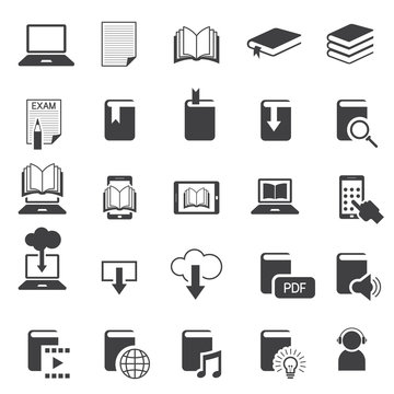 School Online, E-Learning, E-Book, Book Icons Set