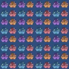 Castle seamless vector pattern illustration  flag, fortress