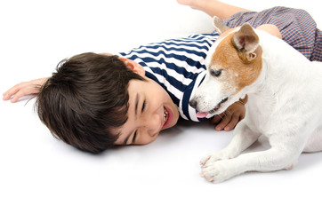 Jack russel with kid playing together
