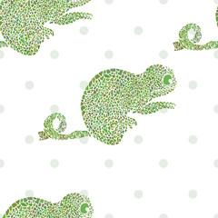Chameleon seamless vector illustration cartoon zoo set