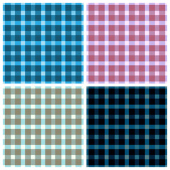 Seamless pattern reminded Scottish fabric.A set of four illustr