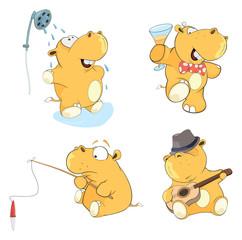 A set of hippos cartoon